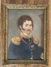 European Military Portrait - Antique 18th Century Oil on Canvas Painting - Read!