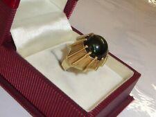Turmalin Ring 585 Goldring grüner Stein 5,83 g Gelbgold 14K Gold 48-15,3 mm 1974