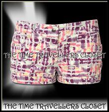 KATE MOSS TOPSHOP Multi Orange Purple Pink Cream Denim Hot Pants Shorts UK 10