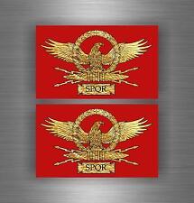 2x Sticker adesivo adesivi tuning auto moto jdm bandiera impero romano spqr