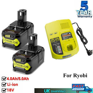 2x For Ryobi One+ Plus 18V Battery 5.0Ah P108 RB18l13 RB18l50 RB18L40 Charger