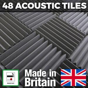 48 Grey Thick Acoustic Foam Tiles 300mm Studio Sound Proofing Foam Treatment