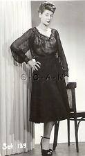 Original Vintage 1940s-50s Semi Nude RP- Older Woman- Sheer Dress- Legs- Heels