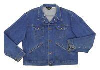 Vtg WRANGLER Denim Jean Jacket USA XL-2XL Mens WESTERN RANCHER Coat Vintage