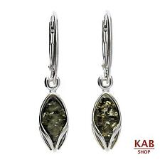 GREEN BALTIC AMBER STERLING SILVER 925 JEWELLERY EARRINGS, KAB-127