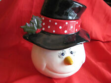 """NEW Made in USA Hand Painted Ceramic Snowman Cookie Jar """"My Way"""""""