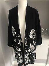 Alfani Black & White Flower Knit Longline Ipen Front Cardigan Sz XXL 16-18