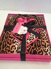 Betsey Johnson Pajama Set Animal Print Fleece Pjs In Gift Box Size Small NWT