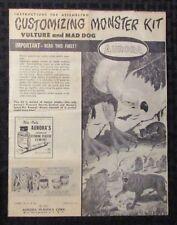 1964 VULTURE & MAD DOG Aurora Model Kit INSTRUCTIONS ONLY VG+ 4.5 Skull Rats