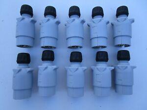 10 X Plastic  grey 12 S 7 Pin Trailer Plugs for towing  Trailer Fleet  caravan .