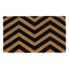 JVL Eco-Friendly Black Pattern Latex Backed Natural Coir Door Mat - 40 x 70cm