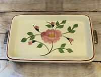 Vintage Mid Century Hand Painted Floral Ceramic Serving Tray Metal Stand USA
