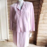 Handsome Dana Buchman Woman Pale Pink Silk 2 piece Skirt Suit Plus Sz 20 NWT