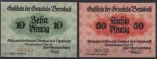 [11892] - 2 x NOTGELD BERNSBACH, Gemeinde,  10 + 50 Pf, 04.05.1917, Tieste 0545.