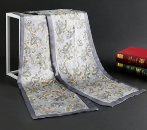 100% Mulberry Silk Satin Scarf men neckerchief Shawl Wrap floral gray MY124-1