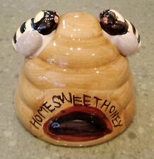 Salt & Pepper Shaker Set BEE HIVE and Honey Bees 3pc ALCO Bugs Insects Vintage
