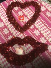 2 Valentines Garland Tinsel Decorations Red Lips Heart Window Door Hangers New