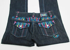 Coogi Women's Jeans Size 5/6 Colorful Design Embroidered Detail Flap Pockets