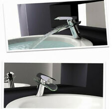 New Tall Glass Waterfall Faucet Lavatory Bathroom Sink Mixer Tap Polished Chrome