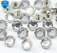 100 Pcs Acrylic Rhinestone Silver Craft Buttons Sewing Crystal Clear Back Shank