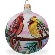 Two Cardinals in Winter, Bird Glass Ball Christmas Ornament 4 Inches