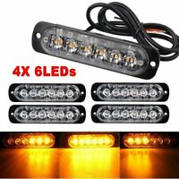 4x Car Truck 6 LED Strobe Flash Light Emergency Warning Flashing Lamp Amber 18W