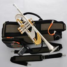 """Professional Brushed silver gold Trumpet Heavy B-Flat horn Monel 0.459"""" Bore NEW"""