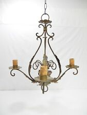 Antique -Vintage 4-Arm Italian Iron Chandelier With Acanthus Leaves.