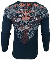 Xtreme Couture by AFFLICTION Men THERMAL T-Shirt RIVETER Biker Wings MMA Gym $58