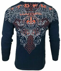 Xtreme Couture by AFFLICTION Men's T-Shirt RIVETER THERMAL Biker Wings MMA