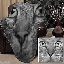Large Warm Sofa Fleece Throw Black & White Cat Face Design Blanket Great Gift