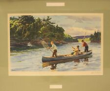 """Classic 'Atlantic Salmon Fishing' by Ogden M Pleissner Color Plate"""
