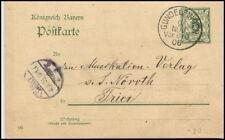 1906 Stempel GUNDELFINGEN a/ Ganzsache Bayern nach Trier gelaufen