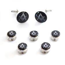 Black & Silver Masonic Cufflinks & 5 Button Studs Mason Formal Present Gift Box