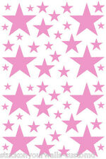 52 SOFT PINK STARS VINYL BEDROOM WALL DECALS STICKERS Teen Kids Baby Nursery
