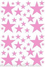52 SOFT PINK STARS VINYL BEDROOM WALL DECALS STICKERS Teen Kids Baby Nursery