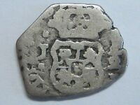 SPANISH COLONIAL 1/2 REAL COB GUATEMALA ASSAYER J CENTURY XVIII SILVER COIN