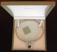 Judith Ripka Sterling 10ct Smoky Quartz &Diamonique Heart Enhancer Cord Necklace