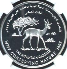 Oman 1997 WWF Conserving Silver Coin 1 Omani Rial Mountain Gazelle NGC PF68 Rare