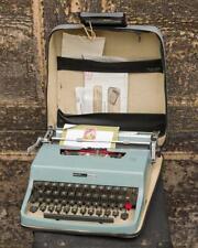 Vintage 1960's Olivetti Underwood Lettera 32 Typewriter Blue Case Italy g50
