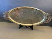 Vintage Israel Brass Double Handled Long Floral Tray 18""