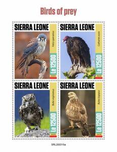 Sierra Leone Birds of Prey on Stamps 2020 MNH Owls Buzzards Kestrel 4v M/S