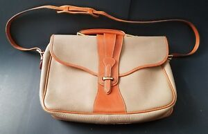 Vintage Dooney & Bourke Leather Messenger Bag Shoulder Laptop Taupe Legal
