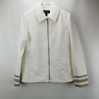 Dennis Basso Jacquard Knit Zip-Front Jacket with Lace Cuffs Ivory R4 A349304