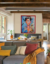 """Painting By Antonio Abad Dominican Artist """"Colorful Frida''"""