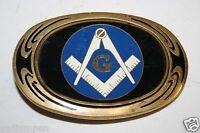Vintage 1983 Freemasons Blue Compass Logo Solid Brass Belt Buckle Rare