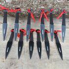 12pc Black Ninja Kunai Throwers Tactical Combat Hunting Throwing Knives w/ CASE