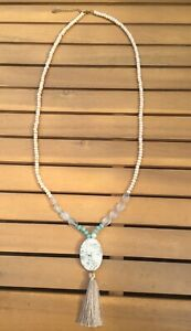 White / Cream / Clear / Turquoise Beaded Necklace Accessorise New