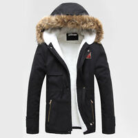MENS QUILTED WINTER COAT PUFFER FUR COLLAR HOOD JACKET PADDED PARKA OVERCOAT NEW