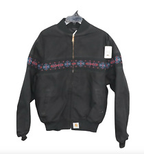 NOS Vtg 90s Carhartt Spell Out Southwestern Navajo Print Jacket Black USA Men XL